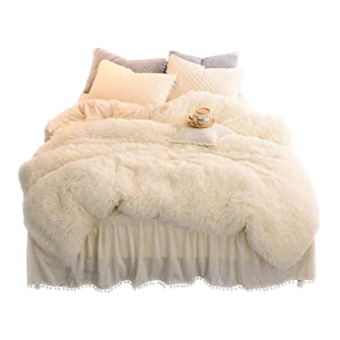 LIFEREVO Luxury Plush Shaggy Duvet Cover Set (1 Faux Fur Duvet Cover + 2 Pompoms Fringe Pillow Shams) Solid, Zipper Closure (Queen Light Beige)