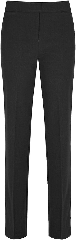 Girls Trousers Slim FIT Leg Kids School Uniform Pants Half Elasticated Waist Pull UP Bottoms 3-16 Years