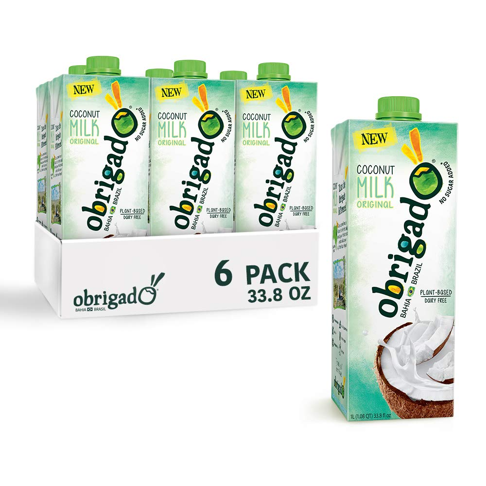 Obrigado Coconut Milk from Brazil - Grown on Sustainable Farms, Never from Concentrate, No Added Sugar or Preservatives (6 Pack)
