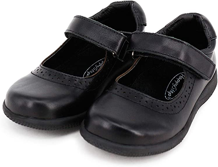 Happystep® Genuine Leather Toddler Little Girl Mary Jane School Uniform Black Dress Shoes