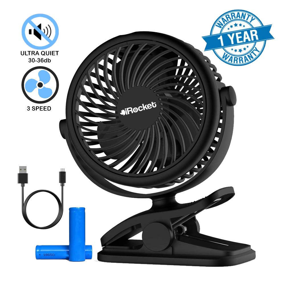 iRocket! Stroller Fan Clip On Portable with Backup Battery Operated. USB Fan Clip with 3 Speed Quiet for Office, Car Seat, Gym, Camping, Home, Bike and Travel