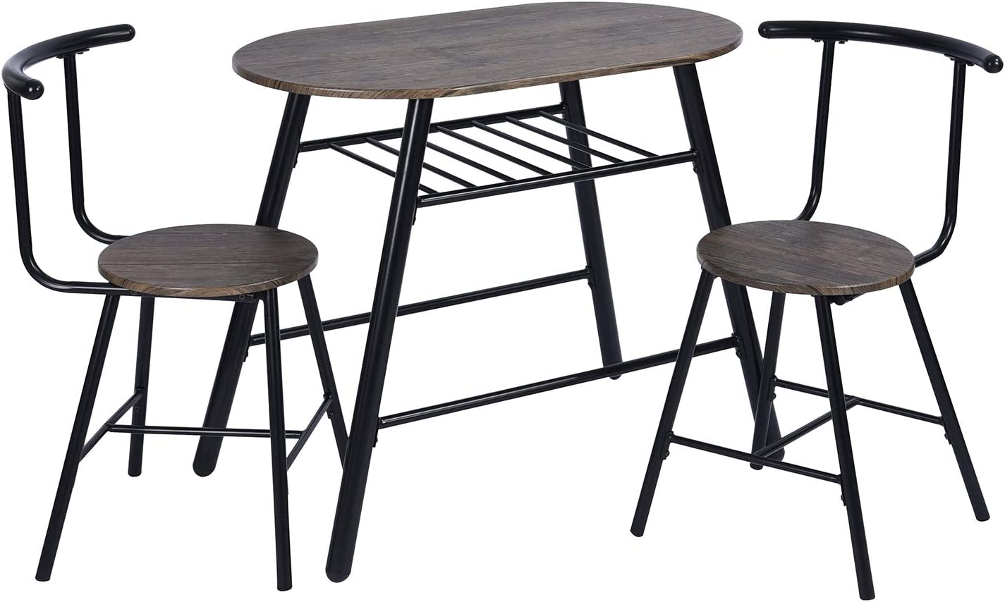 FurnitureR 3 Piece Metal Wooden Dining Table Sets Oval Table and 2 Round Chairs for Home Kitchen Modern Furniture