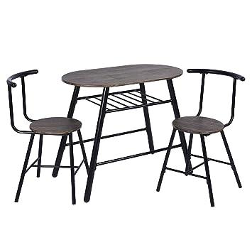Amazon.com: FurnitureR Juego de mesa de comedor de 3 piezas ...