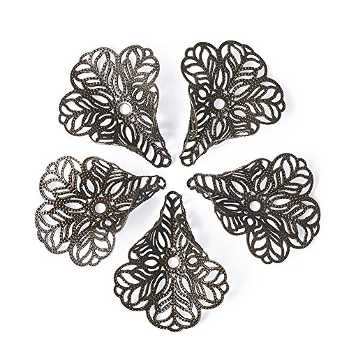 Pandahall 100-Piece 29x24mm Hole 17gauge Antique Bronze 3-Petal Flower Bead Caps Filigree for Large Hole Beads DIY Jewelry Making