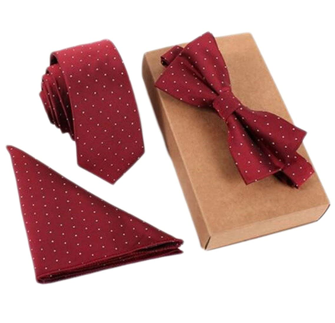 KXP Mens Regular-Fit Pattern Necktie Bow Tie Pocket Square Jacquard Set Red One-Size