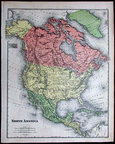 North America United States U.S. Canada Mexico Alaska 1881 scarce old color map
