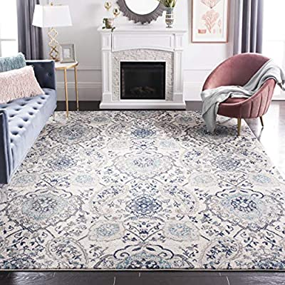 Safavieh Madison Collection MAD600C Bohemian Chic Glam Paisley Area Rug, 8' x 10', Cream/Light Grey - Safavieh's gorgeous Madison Collection now features over 100 styles and 1,500+ colors and sizes to choose from Vintage designs work beautifully in the home and can be styled in a contemporary, bohemian, traditional, or casual fashion Refined power-loomed construction ensures an easy-care and virtually non-shedding rug - living-room-soft-furnishings, living-room, area-rugs - 61yCv3MtVwL. SS400  -