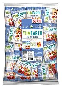 YumEarth Gluten Free Gummy Bears, 0.7 Ounce Snack Packs, 50 pack