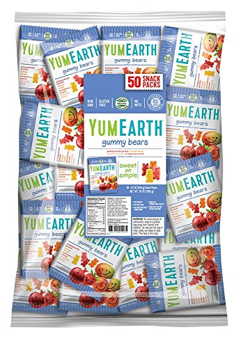 YumEarth Gummy Bears, Assorted Flavors, 0.7 Ounce Snack Packs (Pack of 50) ()