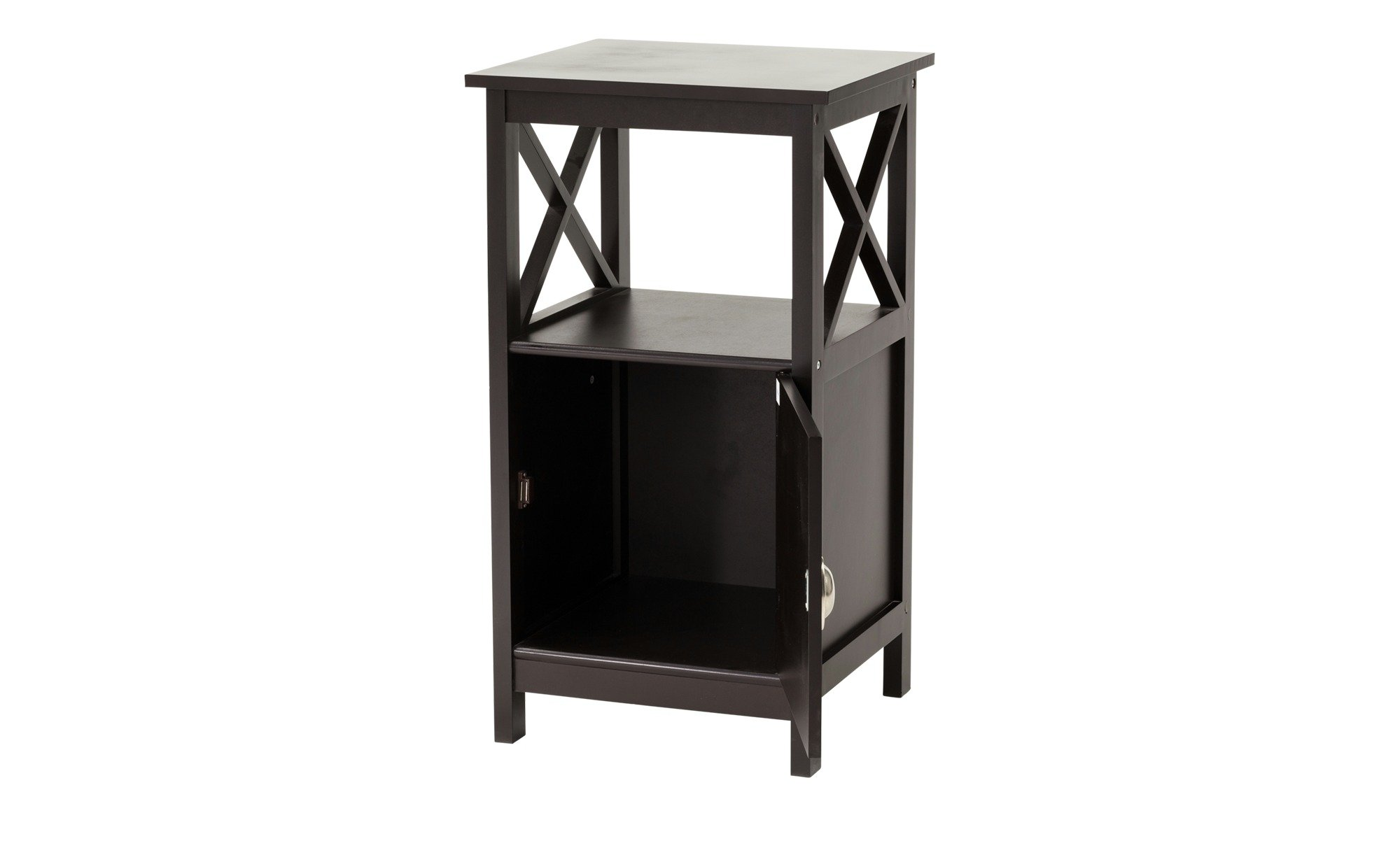 Country Sie Table with 1 Bottom and 1 Door, Modern Country Design, Black Coffee Lacquered
