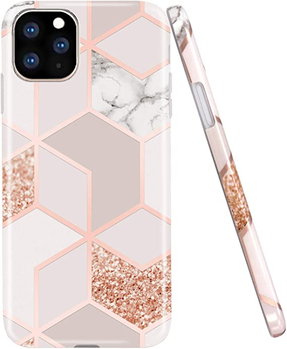 Amazon Com Jaholan Iphone 11 Pro Max Case Bling Glitter Sparkle Marble Design Clear Bumper Tpu Soft Rubber Silicone Cover Phone Case For Iphone 11 Pro Max 6 5 Inch 2019 Rose Gold