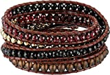 Chan Luu Women's Sterling Silver 5 Wrap Bracelet on Leather with Semi Precious Stones and Crystals Garnet Mix One Size