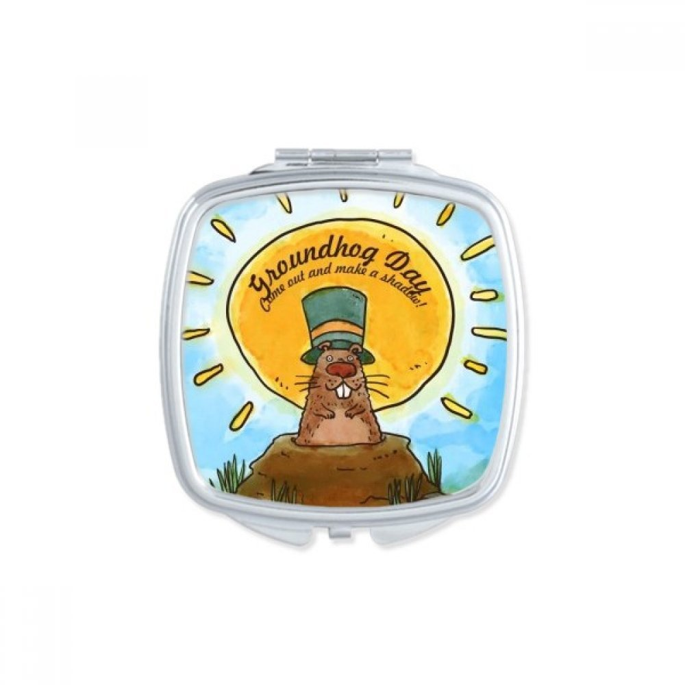 Groundhog Day USA America Canada Festival Square Compact Makeup Pocket Mirror Portable Cute Small Hand Mirrors Gift