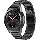 22mm Samsung Gear S3 Classic Band, Gear S3 Frontier Band, iitee Stainless Steel Smart Watch Band Strap for Samsung Gear S3 Classic/Frontier Sports (steel band -black)