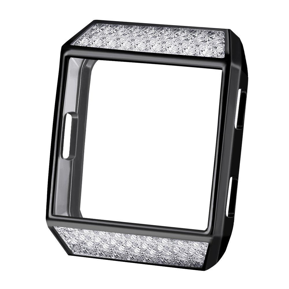 Fitbit Ionicカバーケース、oenfoto Tpuソフトアクセサリー保護ケースフレームカバーシェルfor Fitbit Ionic Smart Fitness Watch B07C2G59T3 Black with Rhinestone Black with Rhinestone