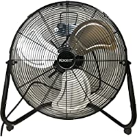 Kool-It #1 Max Performance 20 Super High Velocity 3 Speed Large Industrial Floor/Wall Mount Fan Black - No Assembly Required - Flagship Model