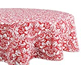 DII 100% Cotton, Machine Washable, Everyday Damask Kitchen Tablecloth For Dinner Parties, Summer & Outdoor Picnics - 70'' Round Seats 4 to 6 People, Tango Red
