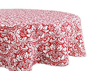 "DII Cotton Tablecloth for for Dinner Parties, Weddings & Everyday Use, 70"" Round, Damask Red"