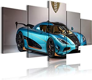 CCBRA Art Poster 5 Pieces 3D Canvas Painting Koenigsegg Agera Wall Landscaping 100x50cm unFramed