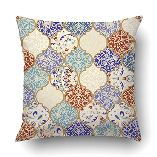 Flower Wallpaper Damask (Emvency Decorative Throw Pillow Cover Case for Bedroom Couch Sofa Home Decor colorful patchwork Vintage multicolor pattern in turkish style Endless pattern Square 20x20 Inches Moroccan)