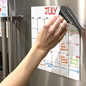 mcSquares Stickies Reusable Whiteboard Stickers - Large Dry-Erase Sticky Note Decals - 11 inch Square 2 Pack - Great for Stainless Frigde Lists, Notes and Reminders - Magnetic Surface Not Required!