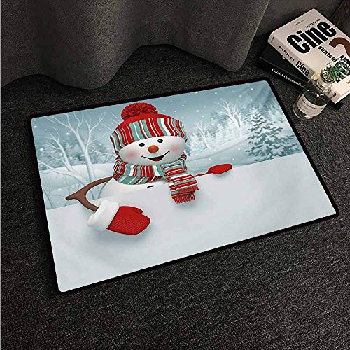 HCCJLCKS Modern Door mat Snowman Smiling 3D Style Mascot with Hat and Scarf Snowy Mountains Trees Seasonal Happy Non-Slip Door mat pad Machine can be Washed W16 xL24 Multicolor