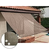 Alion Home Sun Shade Panel Privacy Screen with Grommets on 4 Sides for Outdoor, Patio, Awning, Window Cover, Pergola or Gazebo -200 GSM (5' x 6', Mocha Brown)