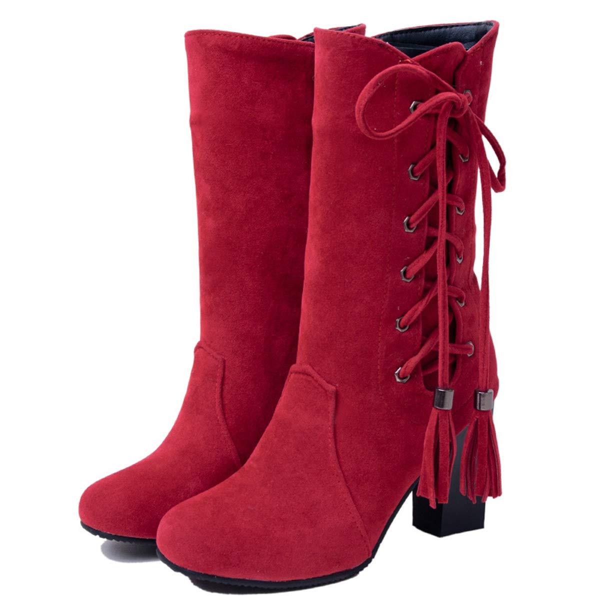 B 38EU DANDANJIE Chaussures pour Femme Talons Ronds Orteils mi-Mollet Bottes à glissière Dentelle-up Gland Bottes à Talons Hauts