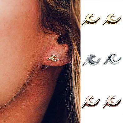3ecf17ffd Amazon.com: WLLAY Tiny Wave Stud Earrings Women Fashion Sea Beach Jewelry  (Gold): Jewelry