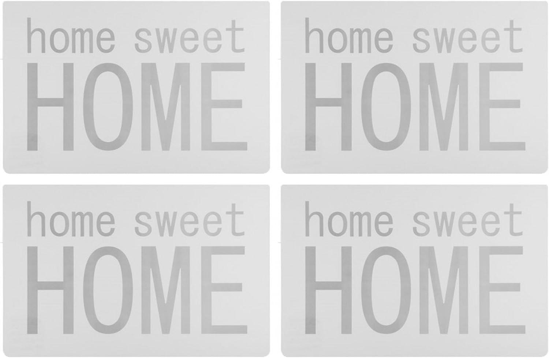 urbanes moderno design Home Sweet Home Set Di Tappetini da tavolo//tovagliette//tavolo base//essunterlage//spazio in plastica lavabile 43/x 28/cm/ Theonoi Set Tavolo /Bianco