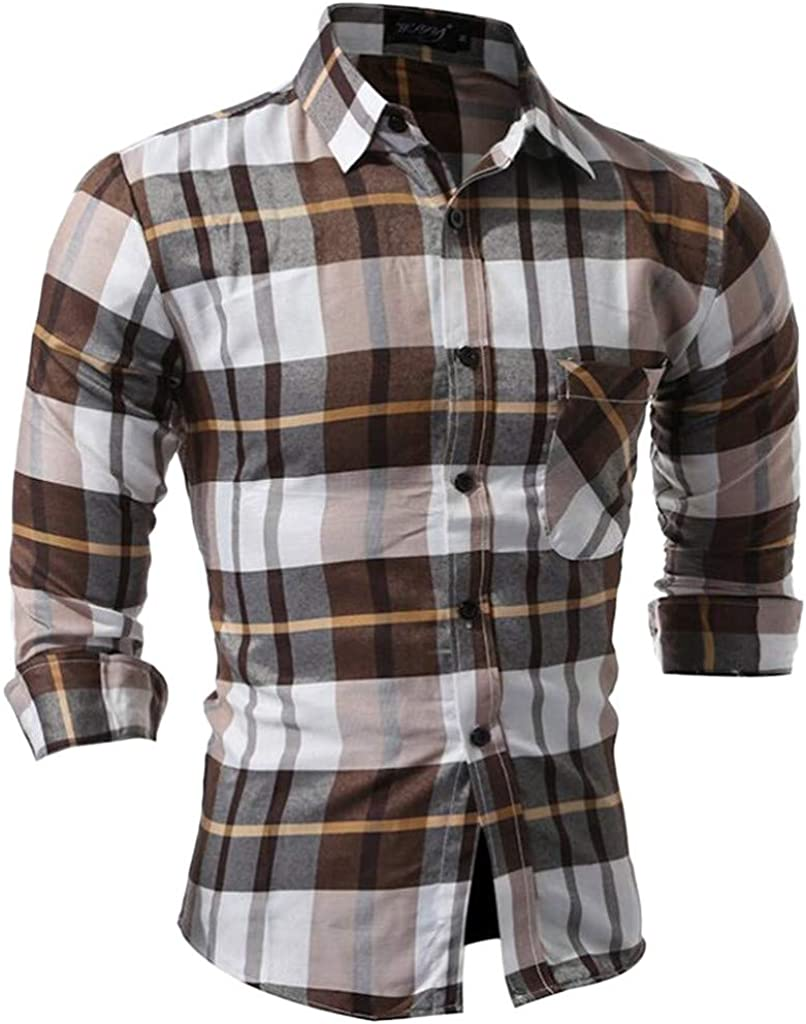 DFHYAR Mens Dress Shirt Regular Fit Casual Business Button Down Long Sleeve Plaid Cotton Polyester
