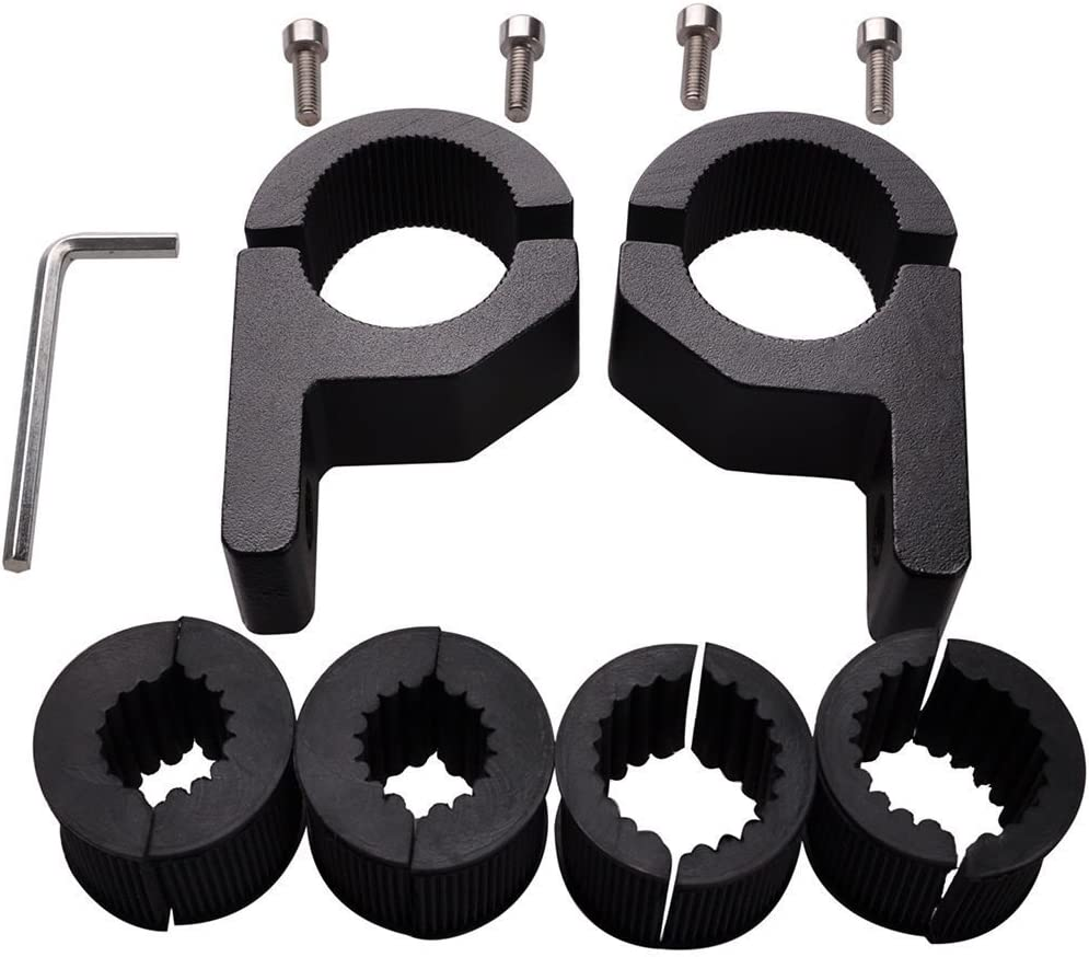Black Black Path T6 Billet Horizontal Bar Mount 1-3//4-1-7//8 Roll Cage Multi Purpose Accessory Roll Bar Clamp LED Light Bracket Kit