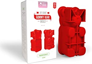DIY Giant Gummy Bear Mold by Mister Gummy | PREMIUM Quality Silicone + 2 RECIPES and 5 GIFT BAGS Included | Make BIG Bear Treats! (Gummy, Cakes, Breads, Chocolates, and More) - (Red)