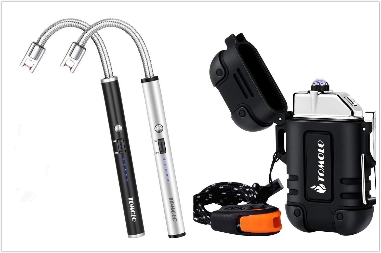 TOMOLO Candle Lighter & Waterproof Lighter Bundle, Electric Rechargeable Plasma Lighter