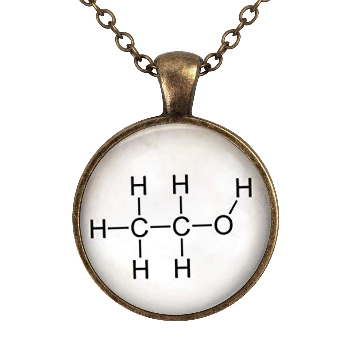 Family Decor Chemical Ethanol Molecules Pendant Necklace Cabochon Glass Vintage Bronze Chain Necklace Jewelry Handmade