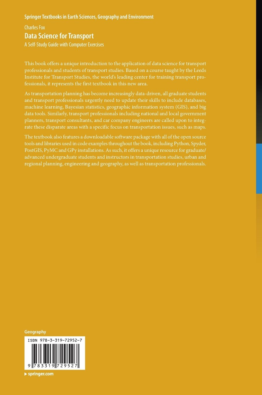Data science for transport a self study guide with computer data science for transport a self study guide with computer exercises springer textbooks in earth sciences geography and environment charles fox fandeluxe Images