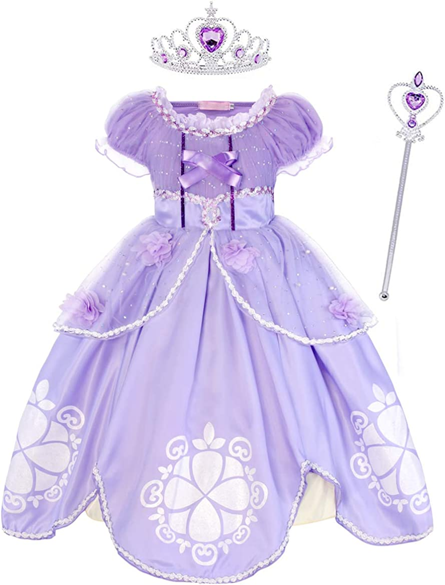 Jurebecia Princess Costume for Little Girls Fancy Birthday Party Dress up Role Play Dresses Luxury Outfit 1-8 Years