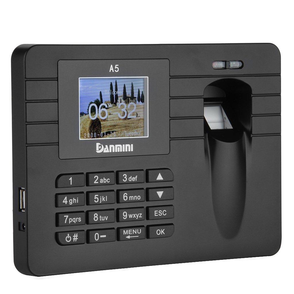 """Danmini Sistema de registro del tiempo por Huella Dactilar con pantalla TFT 2.4"""" Pulgadas -- Controla el horario de sus empleado (capacidad para 60.000 registro de asistencia, grabador de tiempo biometrico) SODIAL 044246"""