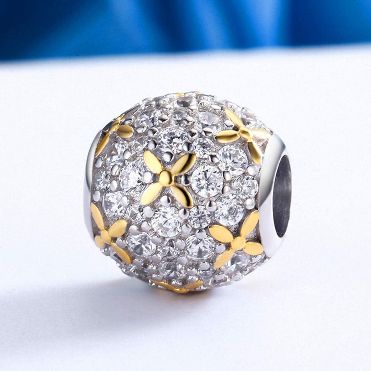EMEMcharm Charms et Perles Argent 925 Fleur Drops Plaqu/é Or Zircones