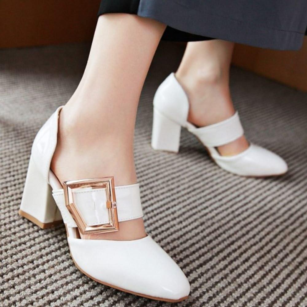 RAZAMAZA Women Closed Toe Block Heel Sandals Shoes Buckle