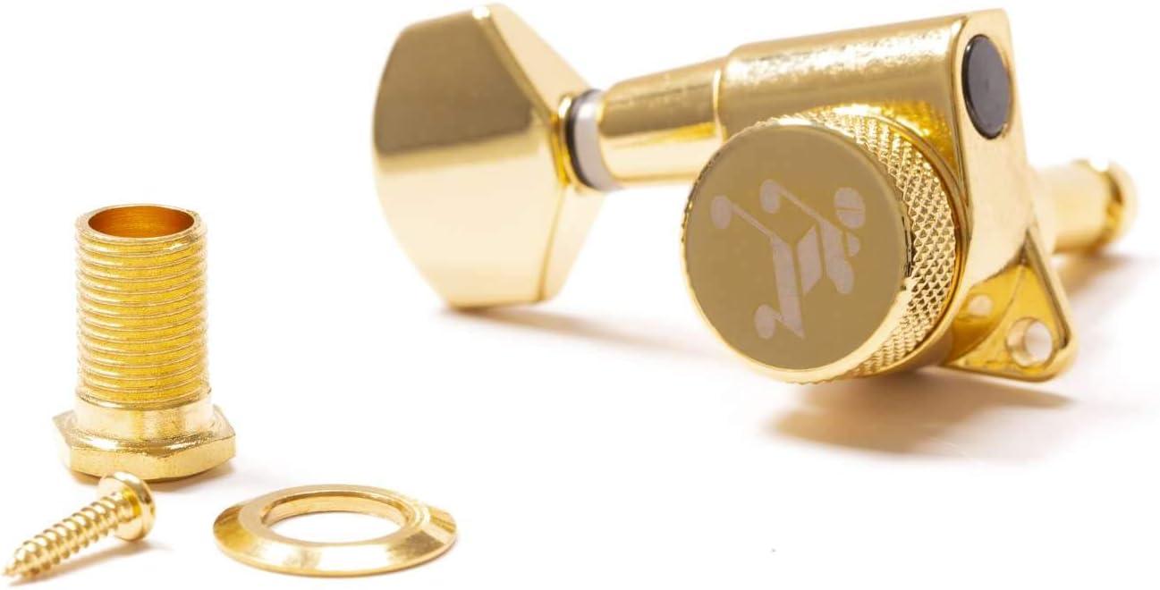 Genuine Tone Ninja 19:1 Locking Tuner, 6 Inline Non-Staggered, Lefty (Gold)