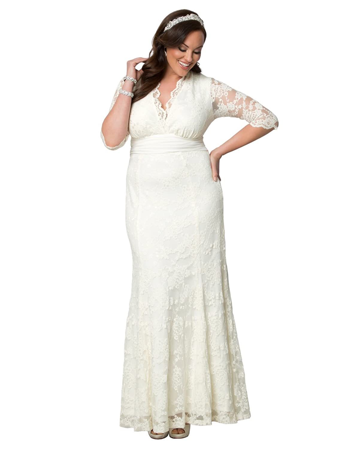 Kiyonna Womens Plus Size Amour Lace Wedding Gown At Amazon Womens