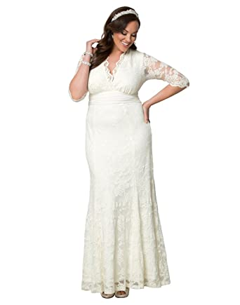 Kiyonna Womens Plus Size Amour Lace Wedding Gown 0X Ivory