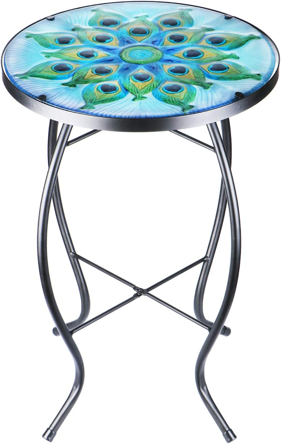 Patio Side Table Accent Table Small Outdoor Mosaic Coffee Table Glass Round Table for Patio Porch Balcony Back Yard