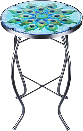Patio Side Table Outdoor Coffee Table Mosaic Accent Table Round Small End Table Bistro
