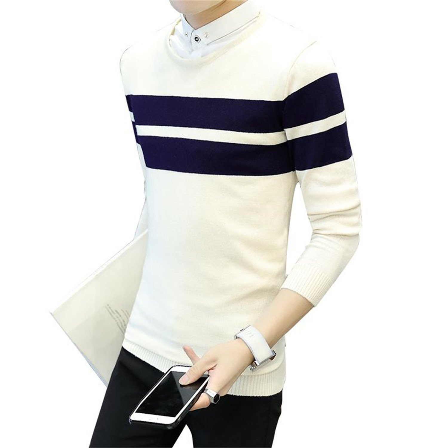 Kebinai Fake Two Pieces Striped Slim Fit Knitting Pullover Sweater BeigeX-Large