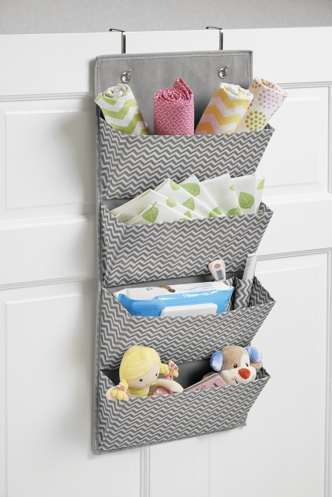 mDesign Soft Fabric Over The Door Hanging Chevron Storage Organizer with 4 Large Pockets for Child/Baby Room, Nursery, Playroom � Hooks Included - Zig Zag Geometric Pattern in Gray/Cream