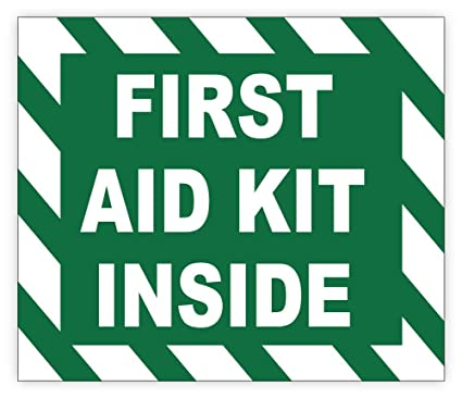Completely new Amazon.com: FIRST AID KIT INSIDE sign sticker decal 5