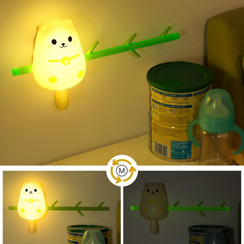 Vacally Cute Animal Hook Wall Lamp Home Decoration USB LED Bedside Night Light Lovely Light For Kids (Multicolor A) by Vacally light bulbs (Image #2)