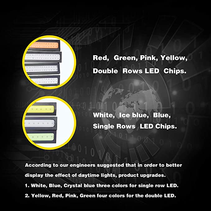 Tian Ran Dai 2 Unidades 17 cm luz Diurna Universal COB DRL Luces LED Exteriores del Coche Auto Estilo de Coche Impermeable l/ámpara Led DRL